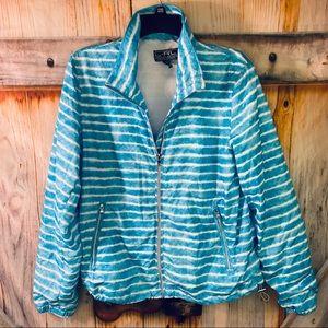 NWOT Lauren Ralph Lauren Mesh Lined Zip Up Windbreaker Pockets Blue White Large